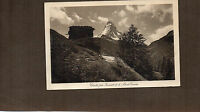 Switzerland mount Cervin and Hermits chalet 1930's sepia card unposted