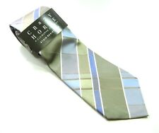 CRAZY HORSE  Neck Tie Light BLUE Pale GREEN  Striped 100% SILK Necktie NWT
