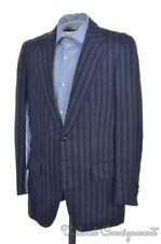DUNHILL Blue Degrade Striped 100% LINEN Mens Blazer Sport Coat Jacket - 36 R