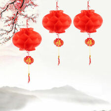 20 Pieces 15cm Chinese New Year Red Paper  PVC Lanterns Hanging Decoration 2019