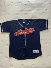 Adult Xl Cleveland Indians Russell Authentic Baseball Jersey Blue Vtg