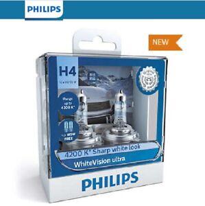 Philips H4 WhiteVision Ultra Light Globes 12v 4200K Whitest Road Legal Halogen