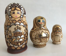 3 x Vintage Russian Nesting Dolls Hand Painted Russian Landmarks Brown & Gold
