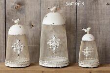 Bird Planters Candle Holders 3 pcs Fleur de Lis Design White Metal Chippy