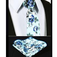 Men's Cotton Blue Floral Woven print Ties Necktie Free Handkerchief