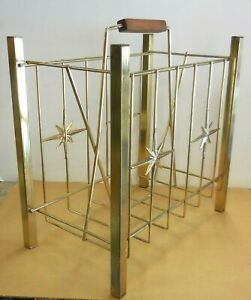 Starburst Mid Century Modern gold metal album holder or magazine rack vintage