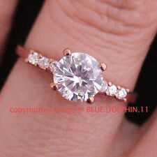 Real Genuine Solid 9k Rose Gold Engagement Wedding Dress Ring Simulated Diamonds