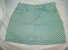 Girls Gymboree Bright Ideas denim skirt size 6--GUC--green w/white polka dots