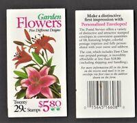 US Booklet - BK215 - Garden Flowers, Sc 2829 - 2833, 1994, MNH
