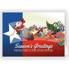 Texas Flag and Santa Christmas Card - 18 Cards 19 Envelopes -40023