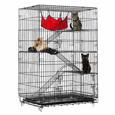 4-Tier Cat Cage Cat Playpen Kennel Crate Chinchilla Rat Box Cage Enclosure with
