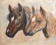 1999 Horses portrait oil painting signed