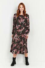Wallis Womens Black Paisley Print Midi Dress Long Sleeve Round Neck Loose Fit