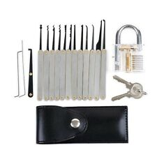 12Pcs Unlocking Lock Pick Set Key Extractor Tool Transparent Practice Padlocks
