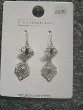 ccc423a3f Ladies Accessorize Silver-Tone Drop Pierced Earrings With Crystals New