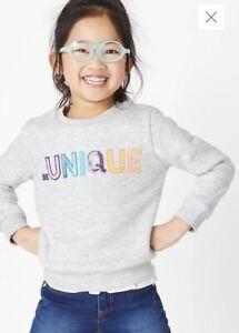 New Ex M&S Be Unique Sequin Grey Marl Sweatshirt Jumper 4-5 Years