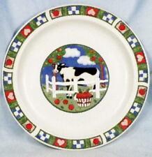 Gibson Barnyard Dinner Plate Cow Fence Heart Apples Checked Rim