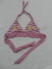 Roxy Girls Double Tiki Triangle Bikini top White Pink Yellow size 8