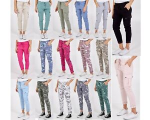 New Ladies Cargo Pocket Super Stretch Plain Camouflage Jogger MagicTrousers Pant