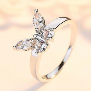 Exquisite Women White Gold Butterfly Crystal Zircon Ring Wedding Jewelry Sz 5-10