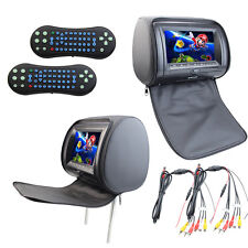 "2x7"" HD Car Headrest Monitor with Built-in DVD Player USB Digital Screen+Remote"