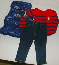 Nautica Girls 3 pc outfit 12 M puffer vest jeans shirt NEW red blue Winter denim