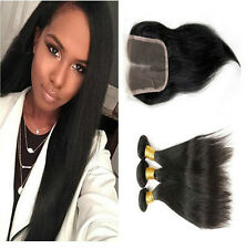 "3 Bundles Straight Hair Weft with 8"" Lace Closure Virgin Peruvian Human Hair"