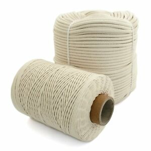 100% Natural Cotton Rope Cord Sash Washing Clothes Line Pulley 16 Strand 4-12mm