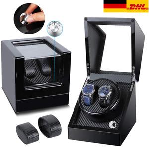 Uhrenbeweger Uhrenbox Uhrenkasten Watch Winder 2 Uhr Automatisch Vitrine Schwarz