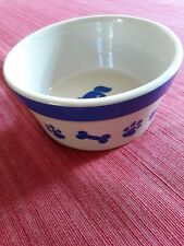 "Dog Bowl, by ""BONE & PAWS"" Stoneware 6"" across, 3"" deep. Food / Water  EXC. COND"