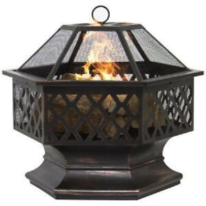 "New ListingZeny 24"" Outdoor Hex Shaped Patio Fire Pit Home Garden Backyard Firepit Bowl Fir"