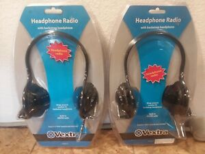 2 Pack Vextra VX3610 Radio Headphones Head Set Walkman Type Portable Radio-NEW!!