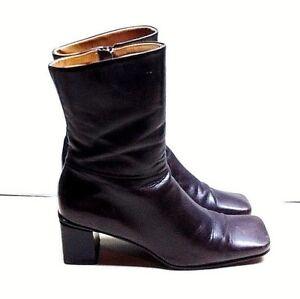Etienne Aigner Impact Dark Brown Leather Ankle Boot Zip Dress Women's Shoe 8M 39