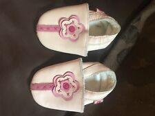 Bebé niñas flor de cuero rosa pálido Zapatos 0-6 meses