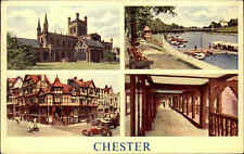 England Postcard CHESTER Multi-View 1955 Church, Auto, Street Scene with Cars