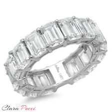11.5ct Emerald Cut Sim Eternity Wedding Engagement Band Ring 14K White Gold