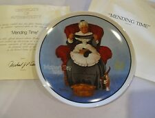 1985 Mending Time Collector Plate 10th In Annual Mothers Day Norman Rockwell