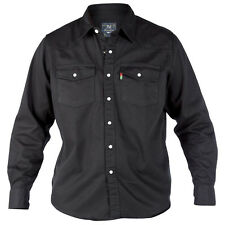 Duke London Mens Long Sleeve Western Denim Shirt Top L Black