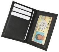 Black Leather Mens Bifold Wallet ID Badge 8 Card ID Holder Zip Pocket