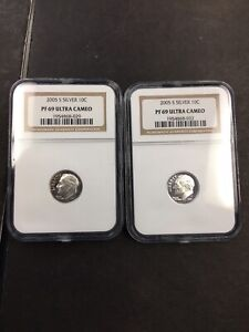 (2) NGC 2005 S PF 69 Silver Ultra Cameo Dime NO RESERVE!! CLEAN!