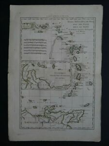 1782 Grenet Bonne Atlas map  ANTILLES - Caribbean - Lesser & Leeward Antilles