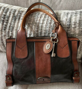 VTG FOSSIL REISSUE Two Tone Black Brown Leather Tote Satchel Carryall BAG EUC