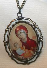 Lovely Fluted Open Rimmed Brasstone Peach Red Madonna Glass Cameo Medal Necklace