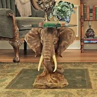 "Lord Earl Houghton's Trophy Elephant Glass-Topped Design Toscano 20"" Table"
