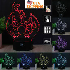Pokemon GO Charizard 3D Acrylic LED Night Light 7 Color Table Desk Lamp Gift