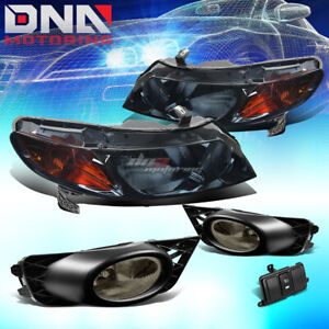 SMOKED HEADLIGHT+AMBER TURN SIGNAL+TINTED FOG LAMP+SWITCH FOR 09-11 CIVIC 4DR