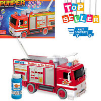 NEW Fire Engine Truck Bump and Go Bubble Machine Blower Solution Bubbles Toy