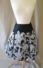 Carolina Herrera Black & Silver Pansy Floral A-Line Skirt  Size 10 NWT