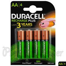 4 x Duracell Recharge Plus AA 1300mAh batteries NiMH 1.2V HR6 DC1500 Stilo