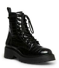 NWOB Steve Madden Tornado Combat Boots, size 8US, color Black, vegan leather,zip